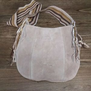 Recanal Suede Leather Crossbody Hobo Bag